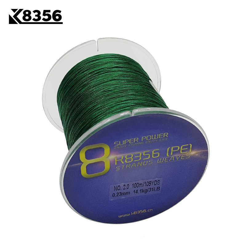 K8356 8 Stands PE Braided Fishing Lines100M 100% PE Multifilament Braided Wire13-200LB 109Yards Smoother Mainline Fishing Line