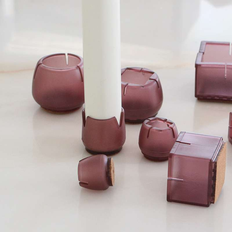 8pcs Square Silicone Chair Leg Covers Socks Non-slip Table leg Feet Pads Base Floor Protectors pipe hole plug Furniture Parts