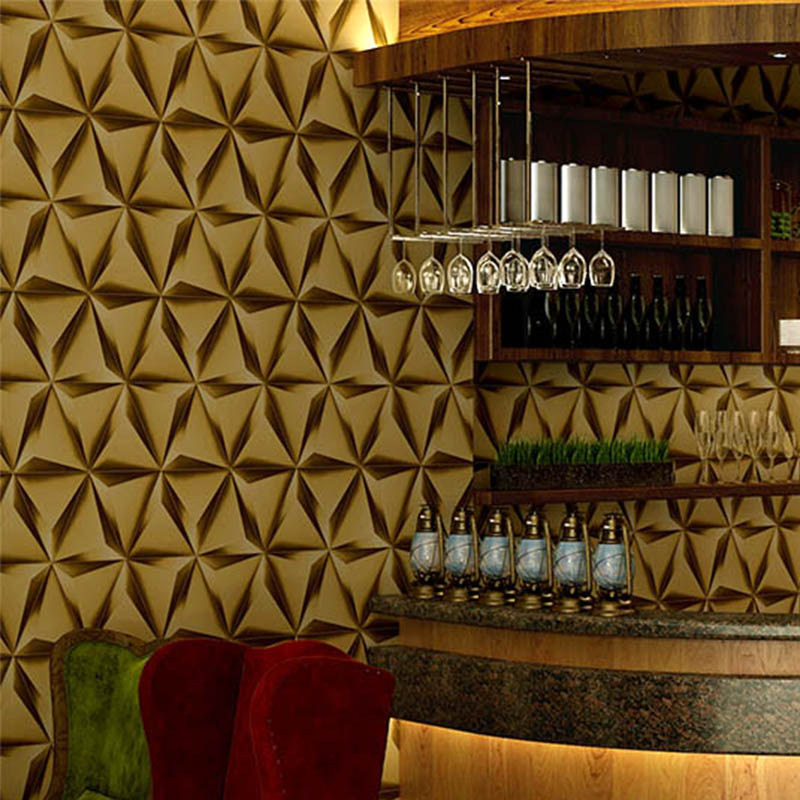KTV Luxury gold foil rhombus abstract pattern wallpaper for wall tv background ceiling wallpaper the 2016 gold foil chinese dragon background wallpaper