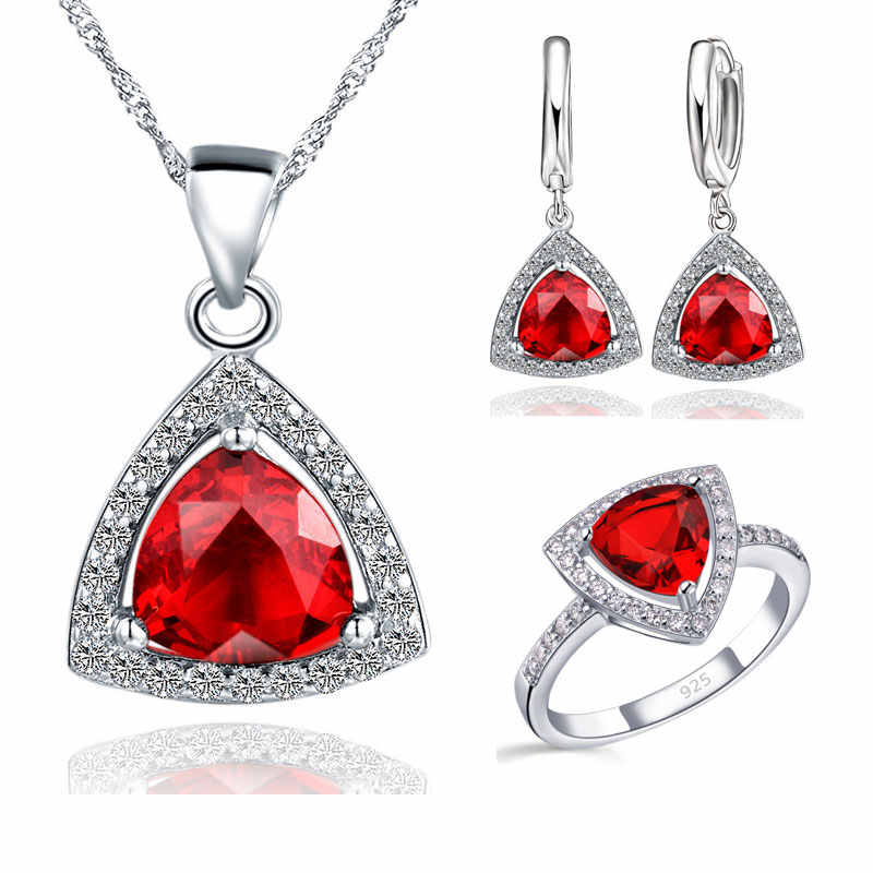 Blue Jewelry Sets Fat Triangle Cubic Zirconia Stone 925 Sterling Silver Color Earrings Pendant Necklaces Finger Rings US6-9