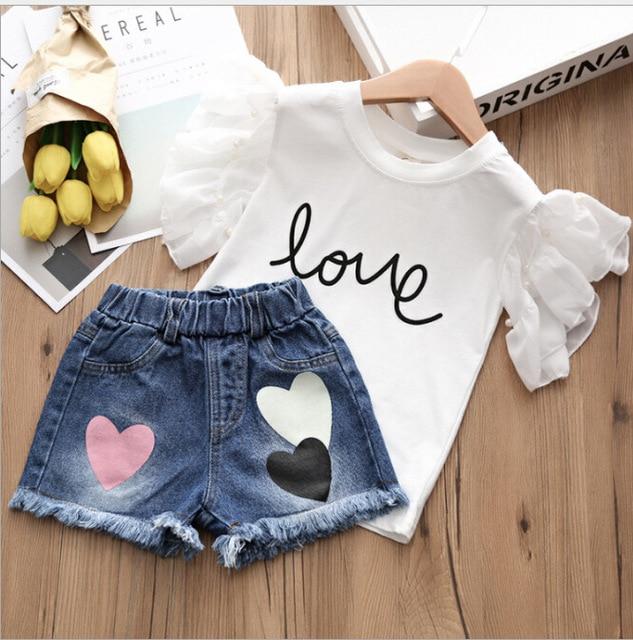 Di estate della ragazza 2pcs Copre Gli Insiemi Della Perla di AMORE a maniche corte T-Shirt E Jeans Shorts Pantaloni Si Adatta Abbigliamento Per Bambini set Abbigliamento Per Bambini 5