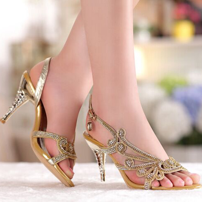 Summer Cool Elegant Shoes Bridal Wedding Dresses Shoe Fashion High Heel 3  Colors Sandals Rhinestone Open Toe Lady Bridesmaid-in Women s Sandals from  Shoes ... 99ea78bc46e9