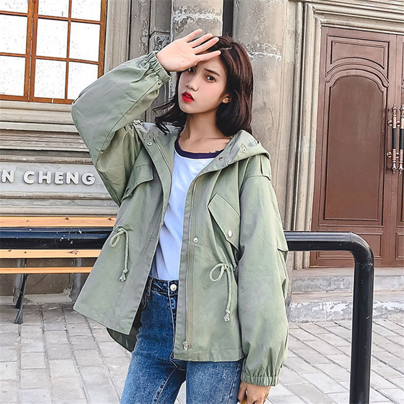 2019 Spring Autumn Hooded Long-Sleeve Long   Trench   Outerwear Casual Thin Black Women Drawstring Slim   Trench   Coat Girls Tops V747