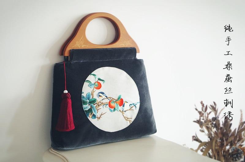 2018 Angelatracy soie broderie Vintage fleur Floral Animal velours à la main oiseau plante gland sac femmes sac à main sacs