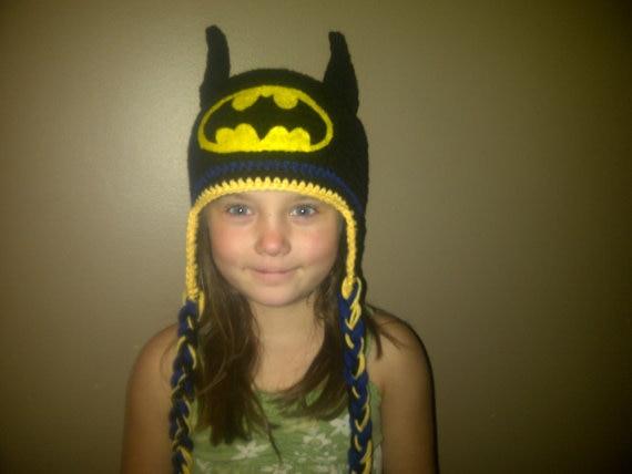 free shipping, Crochet Batman Hat with Ear Flaps,Crochet Superhero Hat - Halloween Costume - Child Batman Hat 100% cotton