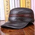 Genuine Leather Flat Peak Baseball Cap Hip Hop Hats men's caps winter warm protect the ear cap  B-0595