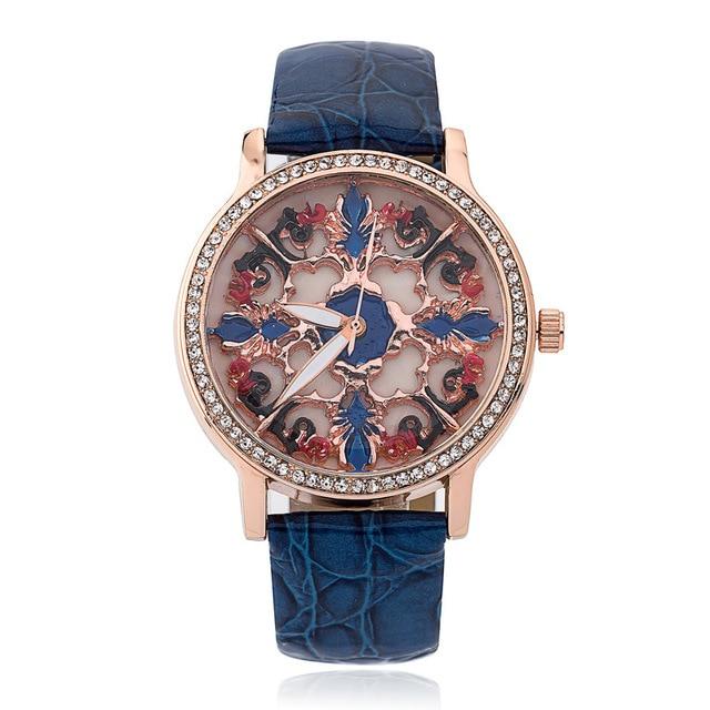 07a9f768b326 Creativo Flor del Grabado esqueleto relojes de las mujeres de Moda de lujo  Rhinestone mujer reloj