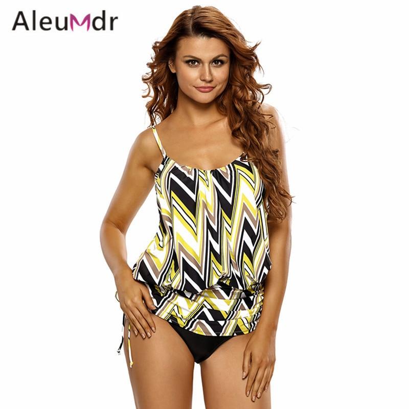2986adbdd02 Aleumdr Plus Size Bathing Suit Women One Piece Print Spaghetti Sport Strap Tankini  Swim Top LC41982