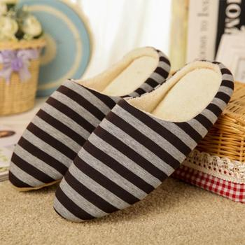 Winter Men Coral Velvet Slippers Housewarming Soft Slippers Home Indoor Cotton Striped Couple Floor Plush Shoes #913 1