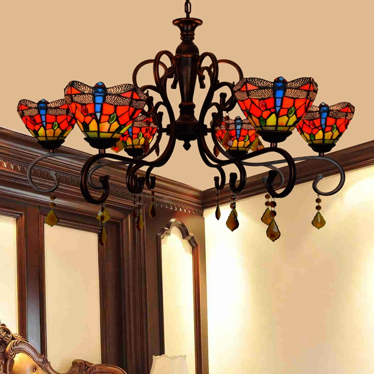 Tiffany Baroque red Dragonfly Stained Glass Suspended Luminaire E27 110 240V Chain Pendant lights  for Home Parlor Dining Room|Pendant Lights| |  - title=
