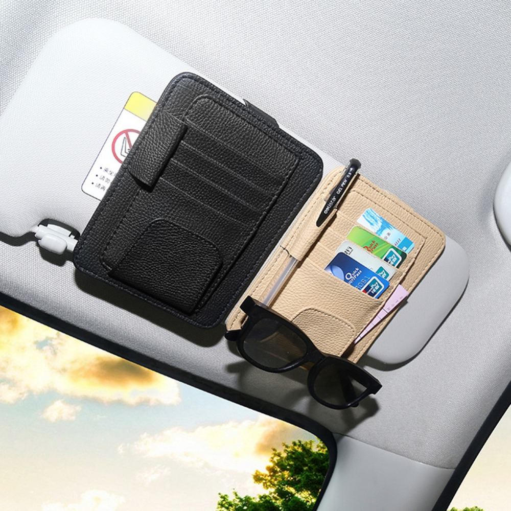 PU Car Sun Visor բաժակներ Ակնոցային ակնոցներ Տոմսերի ստացման քարտը Clip Պահպանման իրավատերը Ապակիներ քարտեր Ավտոմեքենայի սեփականատերը Car ոճավորող պարագաներ