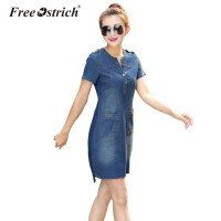 FREE OSTRICH Dresses Women Jeans Dress Summer Sexy Hip Denim Dress Casual Slim Bodycon Vestidos Plus