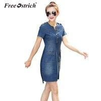 FREE OSTRICH Dresses Women Jeans Dress Summer Sexy Hip Denim Dress Casual Slim Bodycon Vestidos Plus