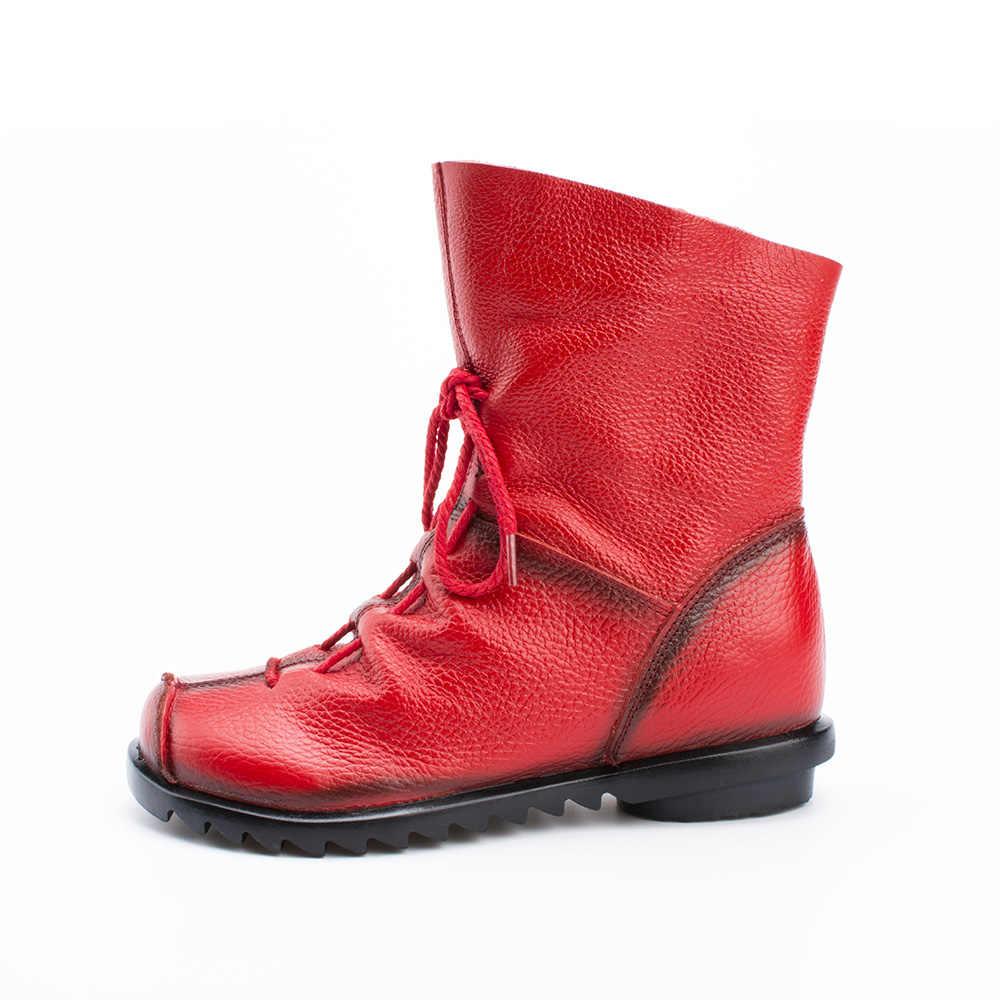 Dropshipping Vintage tarzı hakiki deri kadın çizmeler düz patik yumuşak inek derisi kadın ayakkabısı ön Zip yarım çizmeler SXJJ111