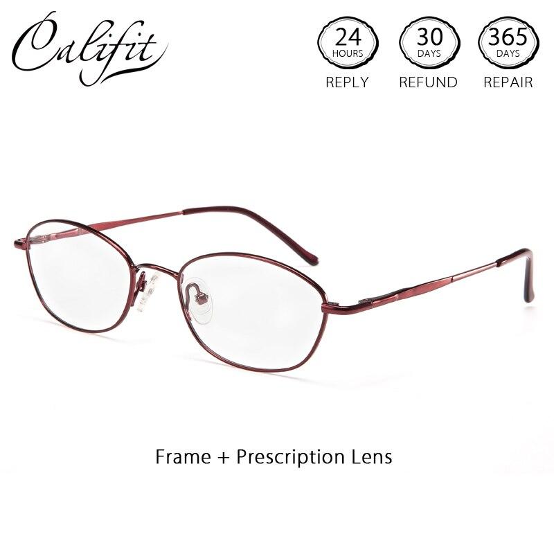 Bescheiden Califit Retro Optische Gläser Für Frauen Ultra-licht Metall Hohe Qualität Brillen Computer Angepasst Objektiv Gläser