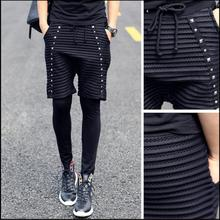 New Men spring and summer tide non-mainstream personality men's trousers Leggings fake two pants Leggings singer stage costumes