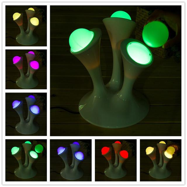 2016 Mejor Venta de Bolas Brillantes de Color Cambiante Luz de La Noche Creativa Lámparas LED de Alta Calidad de Nueva Luz de La Noche LLEVÓ Los Niños Para dormitorio