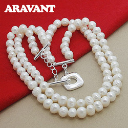 2020 New Fashion Layered Freshwater Pearl Necklace Chains Women Wedding Fashion 925 Silver Necklaces