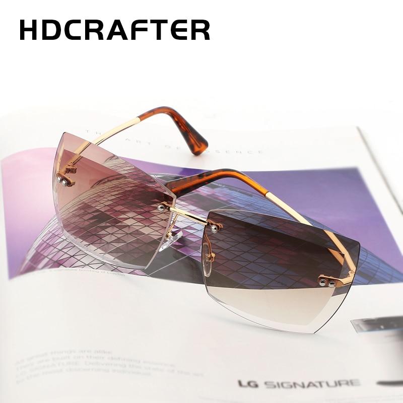 HDCRAFTER Women Sunglasses Square Rimless Diamond Elegant Brand Designer Fashion Shades Sun Glasses With Box