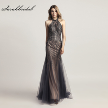 Lüks abiye uzun denizkızı zarif kristal balo elbisesi tül Halter Backless kolsuz kadın resmi Robe De Soiree LSX437