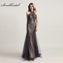 Luksusowe suknie wieczorowe długa syrenka elegancka kryształowa suknia wieczorowa Tull halter bez pleców bez rękawów kobiety formalna szata De Soiree LSX437