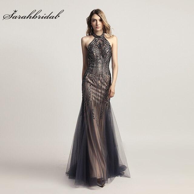 Luxury Evening Dresses Long Mermaid Elegant Crystal Prom Gown Tull Halter Backless Sleeveless Women Formal Robe De Soiree LSX437