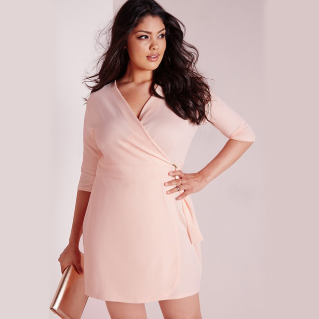c7d3a2e7a0f Plus Size Western Style fashion solid color three quarter sleeve pink  V-neck 3XL-6XL large size overweight Woman s Casual dress