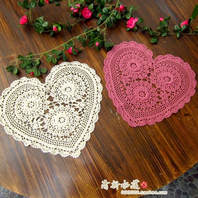 Envío libre zakka romántica corazón ganchillo para decoración de la ...