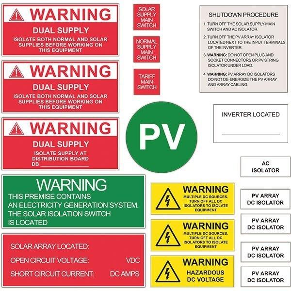 Australian stardard ,UV stable ,3M adhesive Solar labels, signpost ,  installation sign. Engraved PVC Solar Warning Labels