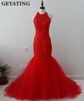 Cristales de lujo Con Cuentas Vestidos de Baile 2018 Rojo Azul Marino Halter larga Sirena Keyhole Volver Partido de Tarde Del Vestido de Fiesta para Las Niñas vestidos