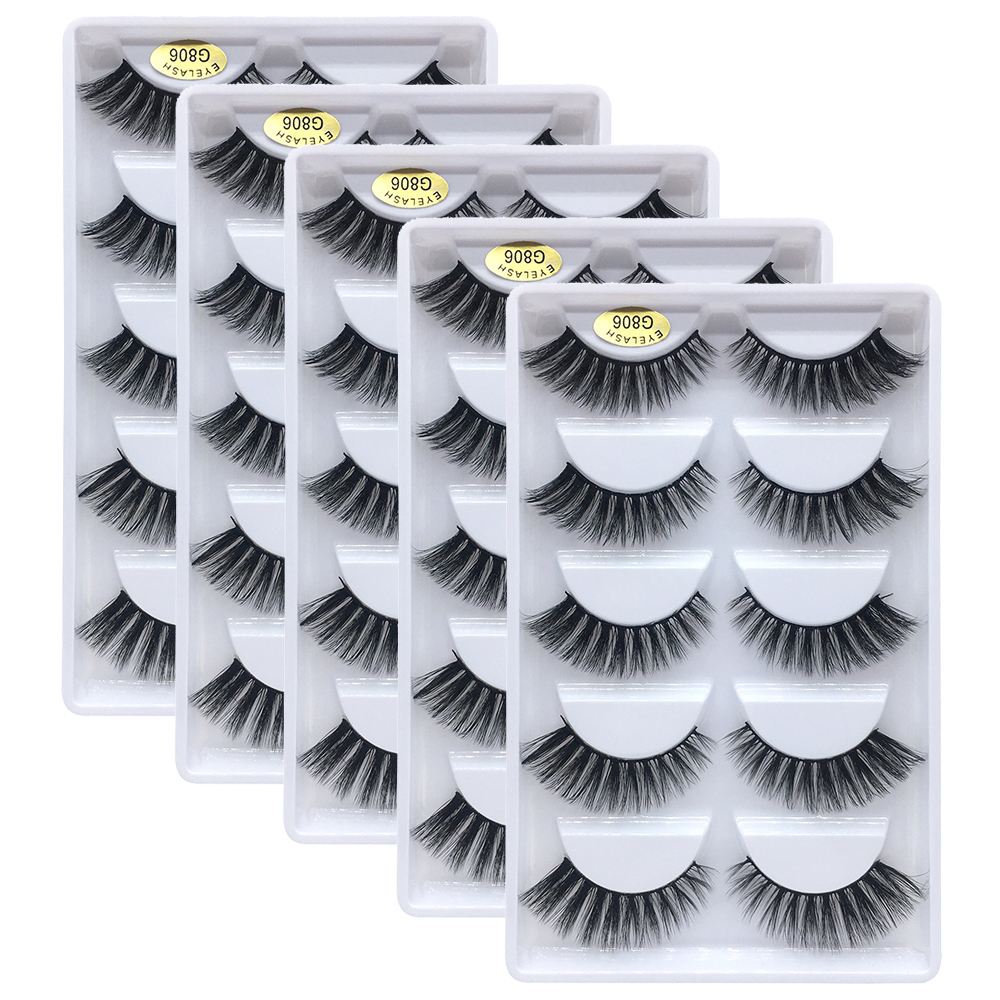 25 Pairs 3D Mink Lashes Wholesale Natural False Eyelashes 3D Mink Eyelashes Soft Makeup Extension False Lashes Cilios G806 G800