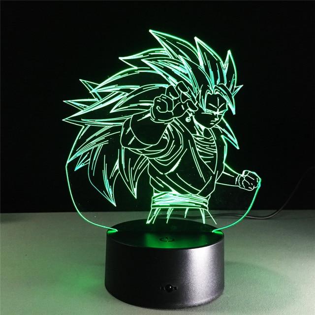 Figurines Dragon ball z super saiyan 3 goku  3d table lamp 2016 New 7 color changing figuras dragon ball z vegeta arti culados