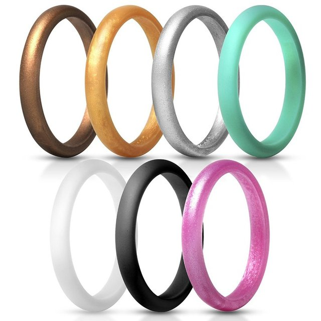 7pcs/lot Flexible Silicone Ring 2.7mm Hypoallergenic Sports Food Grade Environmental Rubber Finger Rings for Women Wedding Band