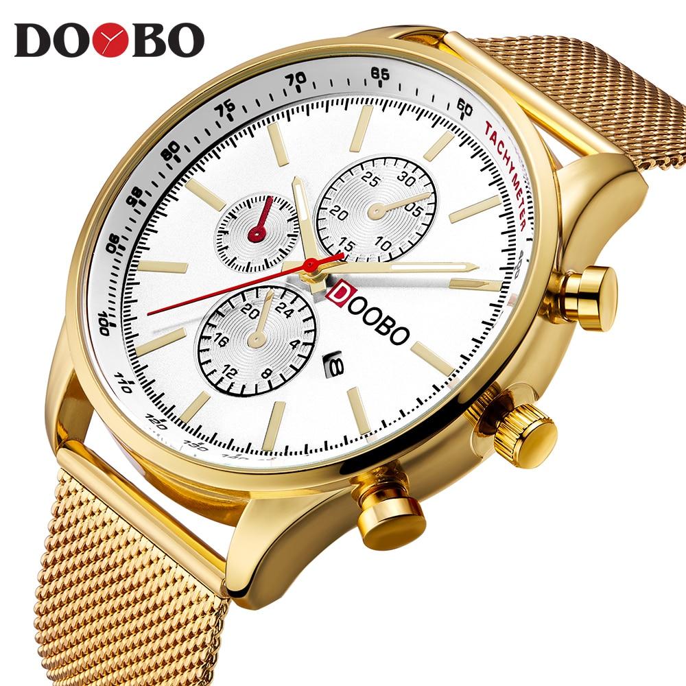 Mens Watches Top Brand Luxury Gold Mesh Strap Quartz Watch Men Casual Sport Clock Male Wristwatch Relogio Masculiino DOOBO D036