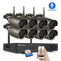 Techage 8CH 1080 P Беспроводной NVR IP CCTV Камера Системы 8 шт. 2MP аудио запись Wi-Fi на открытом воздухе камера слежения, отсекающая инфракрасное излучени...