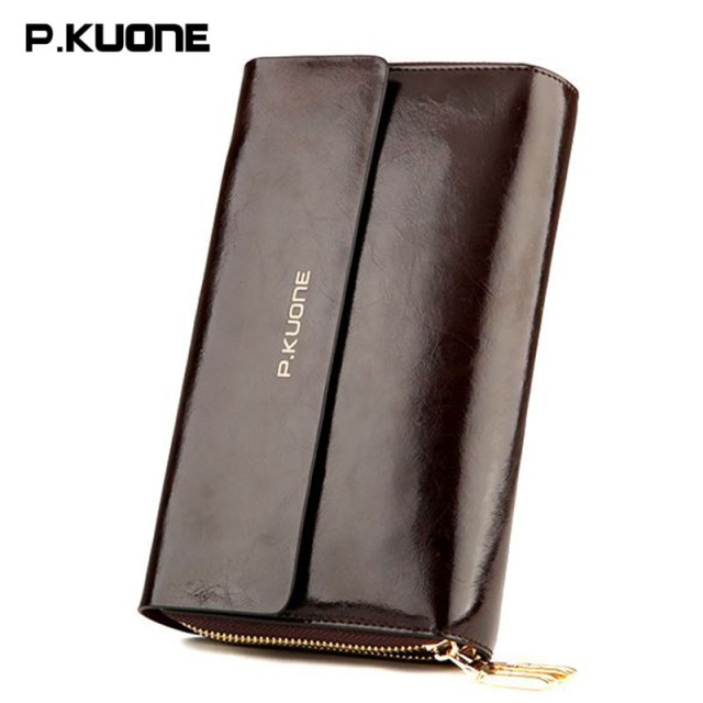 Hot Salling! Luxury Genuine Leather Men's Clutch Bag High-grade Oil Wax Cowhide Clutch Bags Capacity Business Card Holder Purse