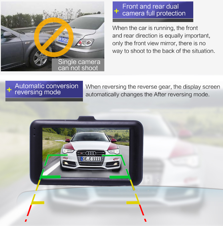 17 Registrar Car Camera DVR 1080P HD 1 Degree Dvr Black Box Car Mirror Camera Dual Camera Lens With Rear View Camera Dashcam 5