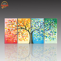 Abstract Colourful Leaf Trees Canvas Painting 4 Piece Spray painting Rectangle Wall Art Modular Poster Pictures for Home Decor