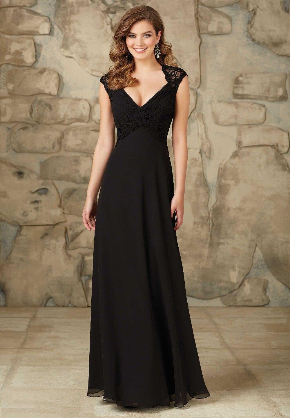Black dress bridesmaid - Maternity Formal Wedding Party Dress Long Chiffon Black Lace Bridesmaid Dresses Plus Size 2017 Open Back