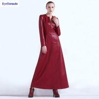 4XL Women Dress Autumn Winter Fashion Wine Red Slim X Long Casual Work Office Leather PU