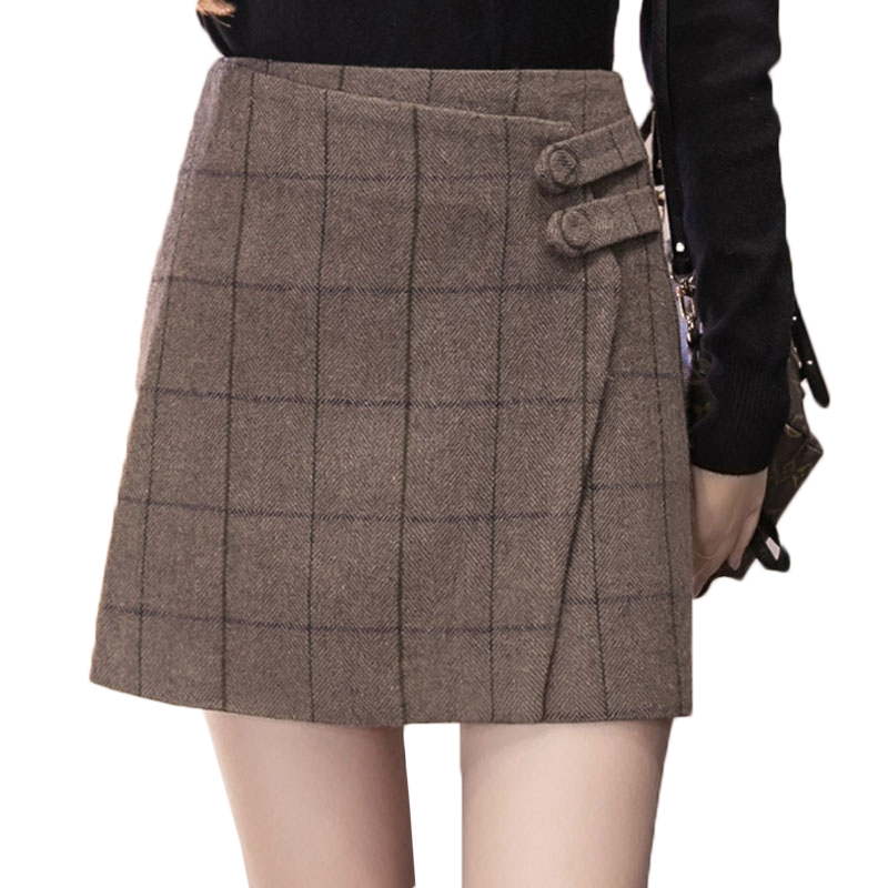 Vintage England Style Winter Wool Skirt Women 2019 Autumn Thicken Woolen Plaid Short Skirts Buttons Irregular Booty Mini Skirt