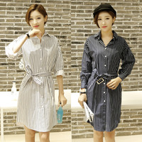 2017 New Autumn Vintage Women Dress Striped Loose Grinding Wool Cotton Dresses White Dark Blue 6076
