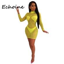 Echoine Плюс Размер S-XXL Leopard Sheer Mesh Set Bodycon Платье 2 шт. Набор Женская Вечеринка Nigth  Лучший!