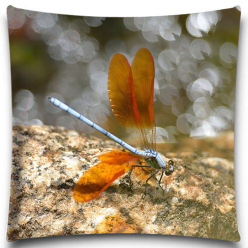 Exceptional Cotton Polyester Cushion Cover Red Dragonfly Ladybug Pattern Sofa Home Car  Decorative Throw Waist Pillow Case 16 18 20 24 Inch