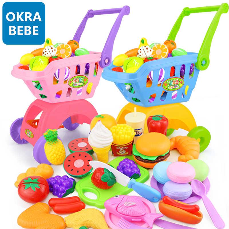 7-30 Pcs Anak-anak Supermarket Belanja Bahan Makanan Cart Trolley Mainan untuk Anak Perempuan Dapur Rumah Bermain Simulasi Buah Berpura-pura Bayi mainan