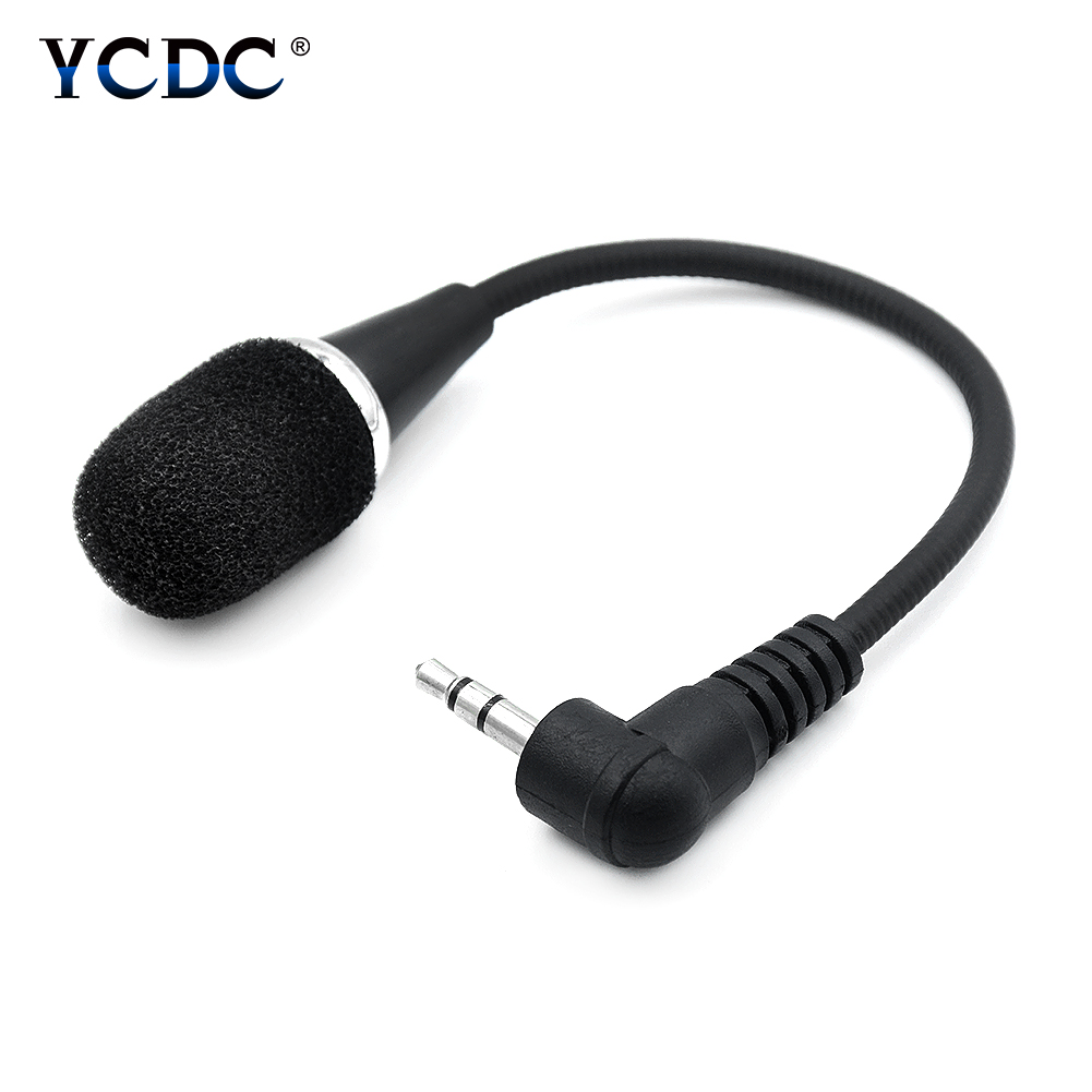 Mini 17cm Long Cable 3.5mm Black Flexible Microphone Mic For Smart Mobile Phone PC Computer VoIP MSN Skype Chat Online Gaming image
