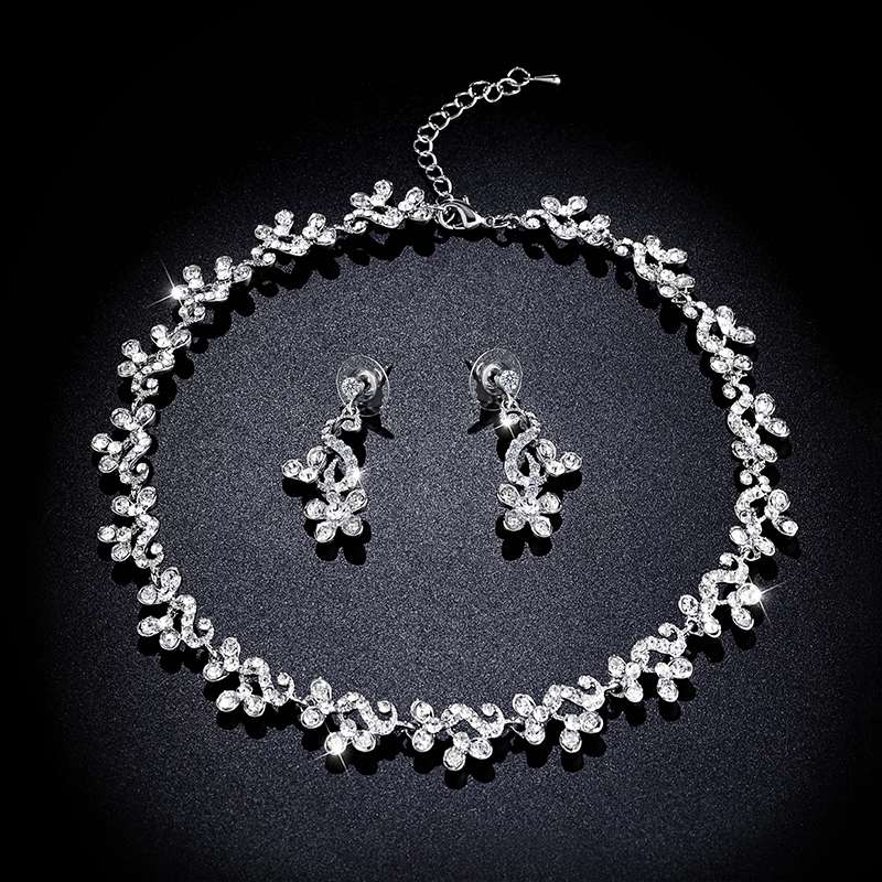 Elegant Crystal Wedding Jewelry Sets Silver Necklace And