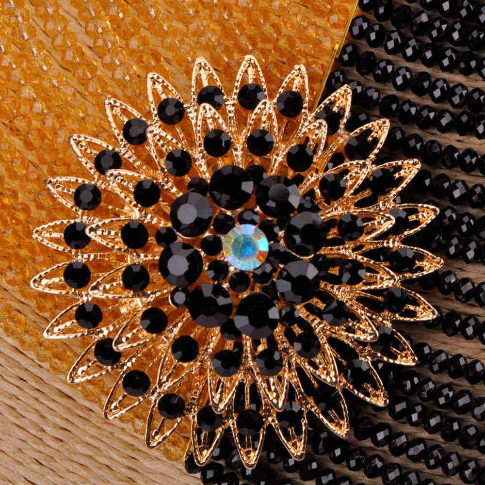 Мода 25 слоев золотой черный кристалл бусы Африканское ожерелье ювелирный набор нигерийская Свадьба Ювелирные наборы 25R14