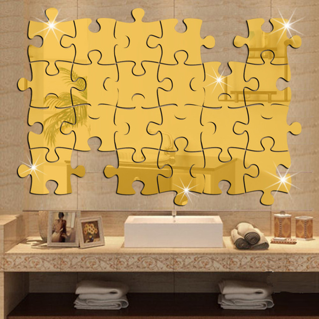 40x37cm15 7x14 6in 4pcs Lot Jigsaw Puzzle Pieces Mirror Stickers For