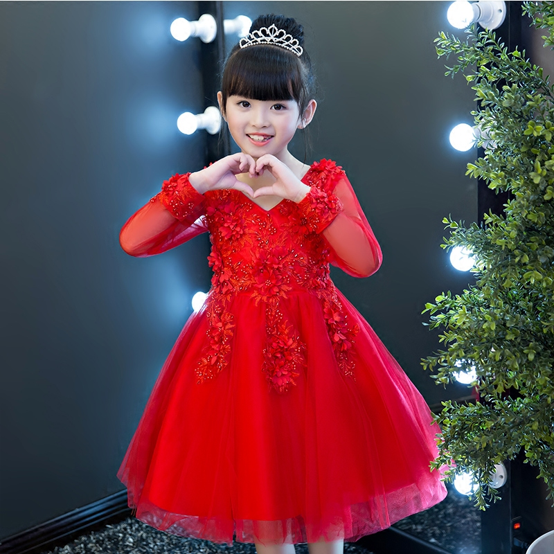 HOT Embroidered Flowers Girl Red Mesh Lace Dress Children Kids Wedding Birthday Party Dresses Babies Long Sleeve Ball Gown Dress